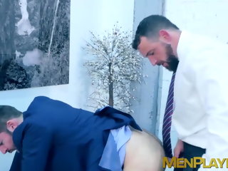 men Two elegant men use their fixture to fuck at work and love it elegant