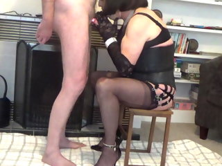 black DENISE IN BLACK FF NYLONS ORAL CUM SHOT denise