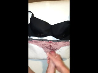 jizzing Stranger jizzing all about over my gfs worn bra and knickers stranger