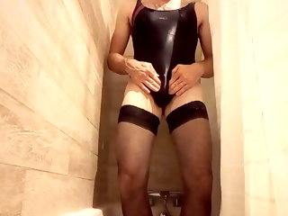 shower Wanking in shower with my wife's swimsuit wanking