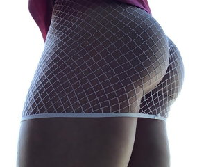 inside Cock inside fishnet mini skirt. cock