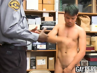 twink Asian twink thief barebacked by black BBC security guard asian